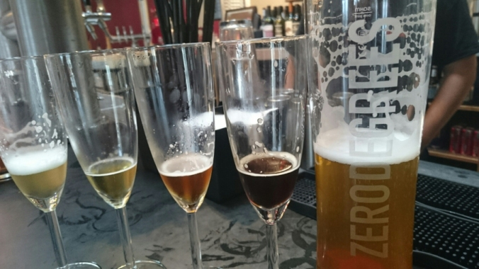 Tasty beers at Zero Degrees