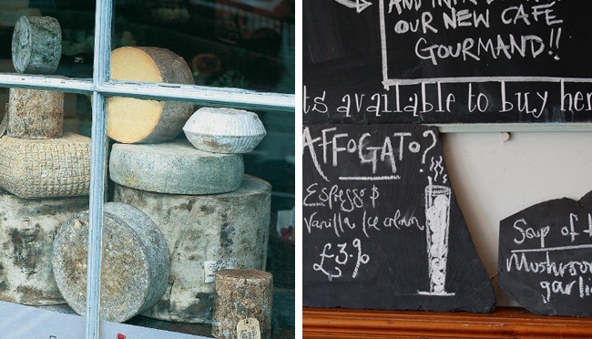 Cheese in the window at Fine Cheese Co. in Bath