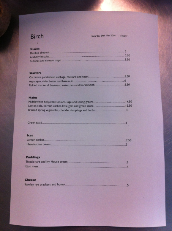A sample menu from Birch Bristol
