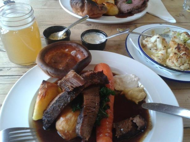 The beef brisket roast at Yurt Lush, including a whole roasted carrot!