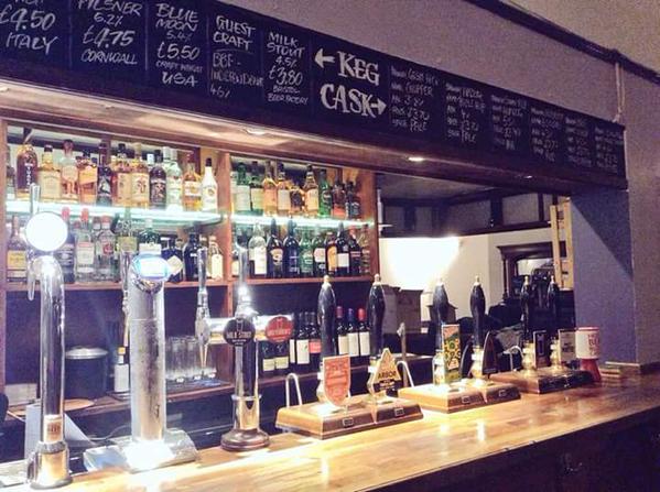 The bar at the Hope & Anchor - shiny shiny.
