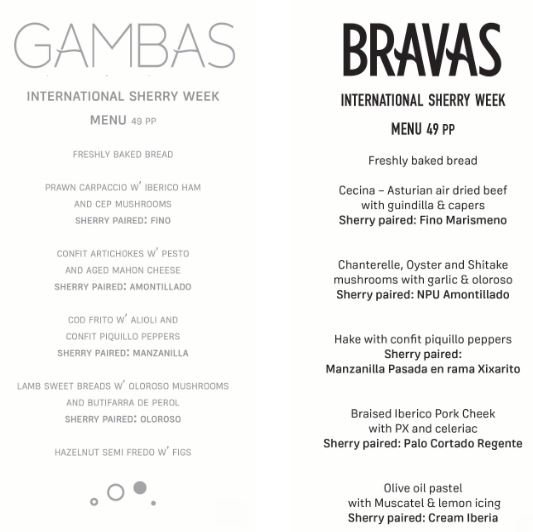 Bravas and Gambas Menu