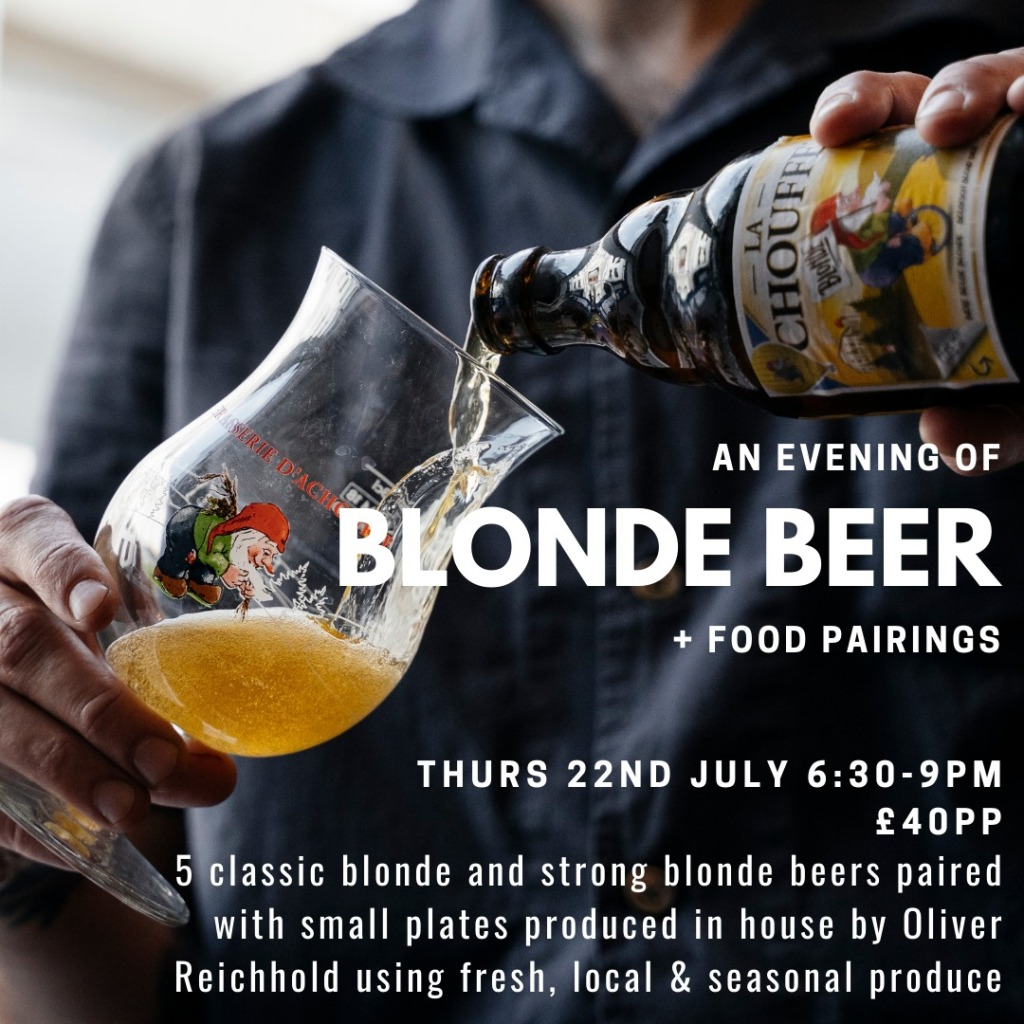 Poster for beer and food pairing night at Strawberry Thief