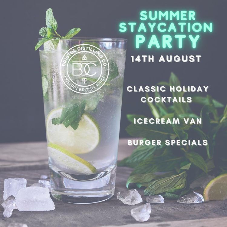 Bristol Distilling Co Summer Staycation Party poster