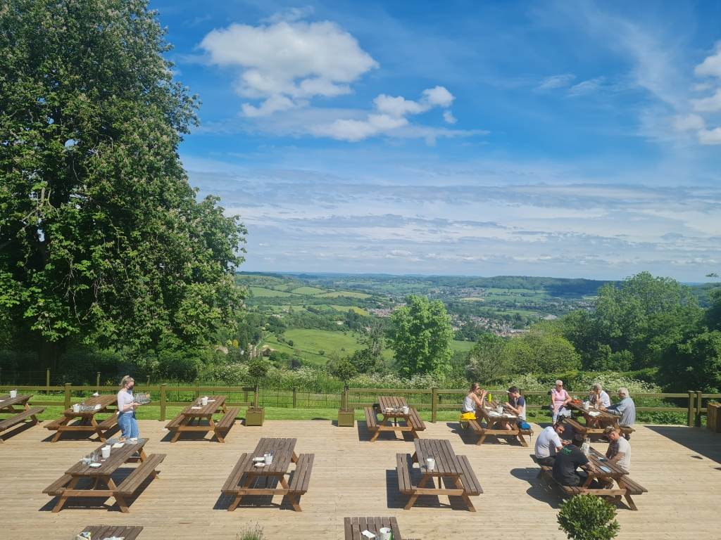 Thew view over the pub terrace and hills