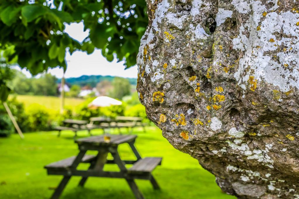 Stone circle in the garden of the pub