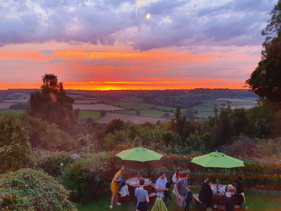 Sunset over the pub garden
